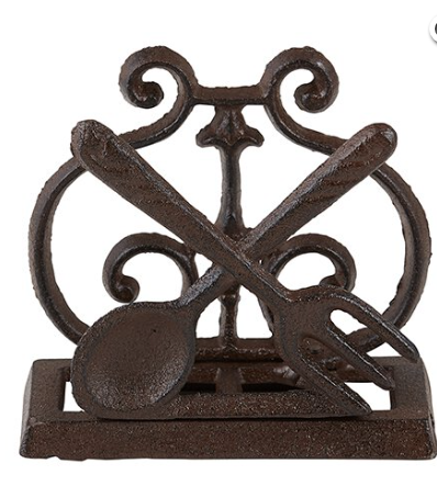 Cast Iron Paper Holder Spoon & Fork