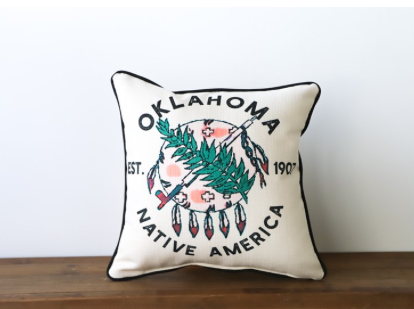 Colorful Oklahoma Shield with black piping