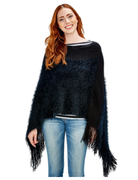Fuzzy Knit Infinity Shawl with Fringe