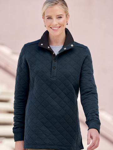Womens Quilted Snap Pullover