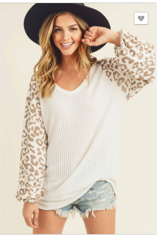 Leopard, Criss Cross Rib Sweater with V neckline