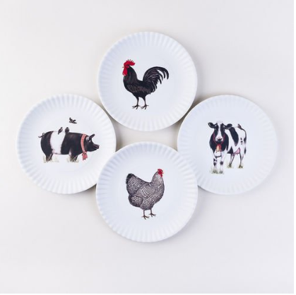Farmhouse Animal Plates ( Assorted ) ( Set of 4 )