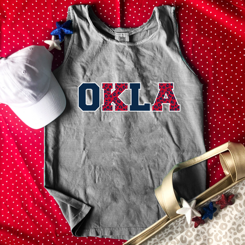 Okla Red, Blue &Grey Leopard Tank
