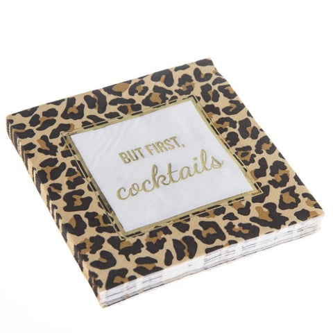 But First Leopard Cocktail Napkins  ( 20 Count )