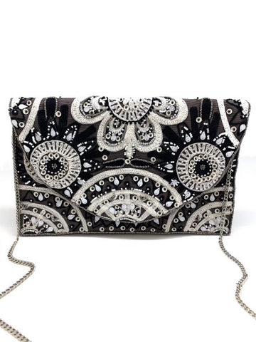 Embroidered Clutch W/ Brown/White/Black Floral