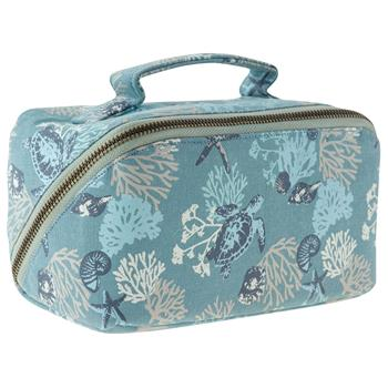 Zip Canvas Cosmetics Bag  ( Sea Turtles )