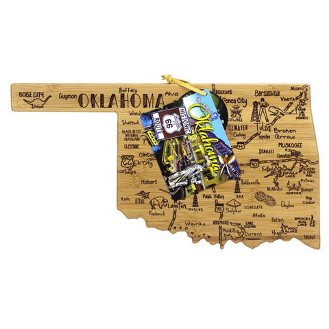 Destination Oklahoma State Shaped Bamboo Serving and Cutting Board