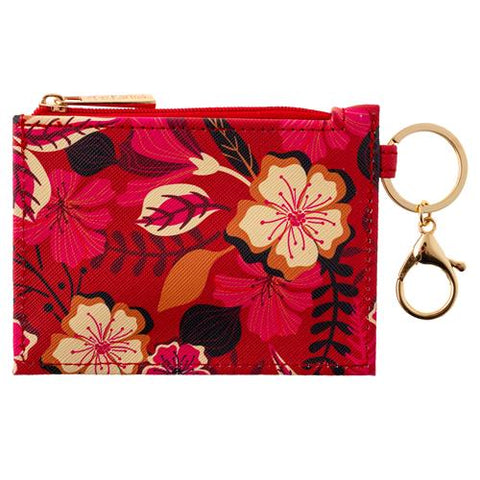Zip ID Holder w/Key Ring ( Red Floral )