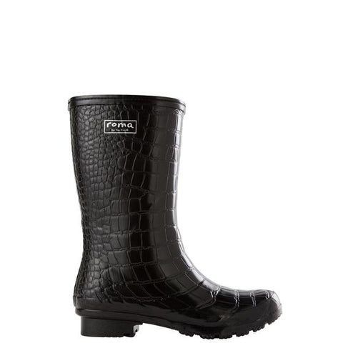 Roma Rainboots in Emma Black Croc