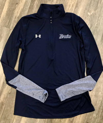 Bruins Script Navy Under Armour Pullover w/ Thumbhole