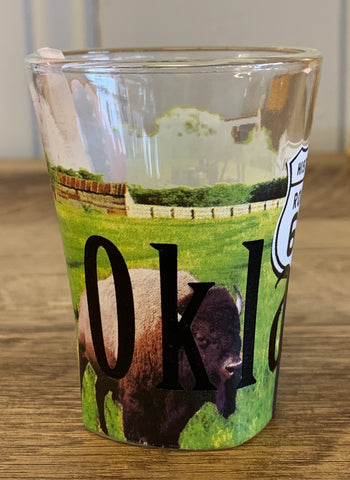 Oklahoma Color Etched Shot Glass