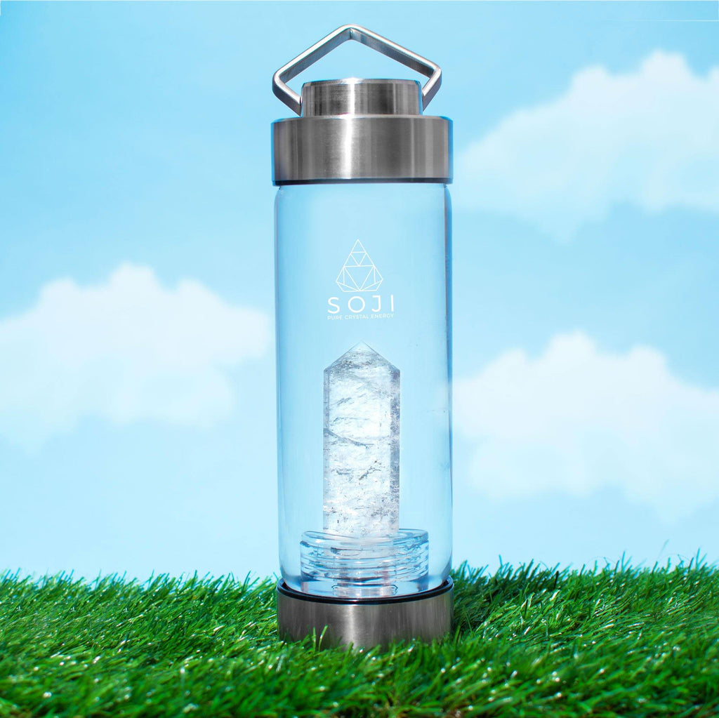 clear Quartz Crystal water bottle