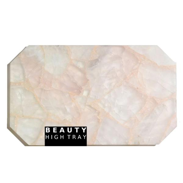 CLEAR ROSY Quartz Crystal Rectangle Tray tray Soji Energy