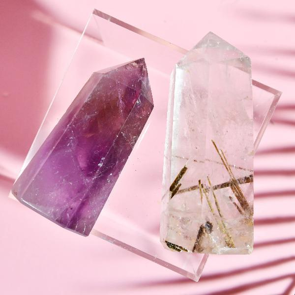 Amethyst and Rutilated Quartz Crystal Set Soji Energy