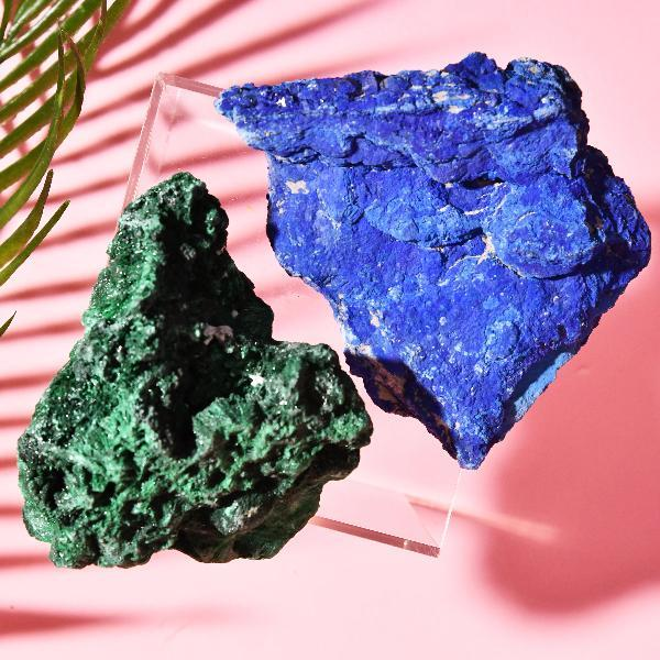 Malachite and Azurite Raw Crystal Set Soji Energy