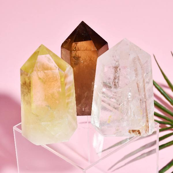 Citrine, Smoky, and Clear Quartz Crystal Set Soji Energy