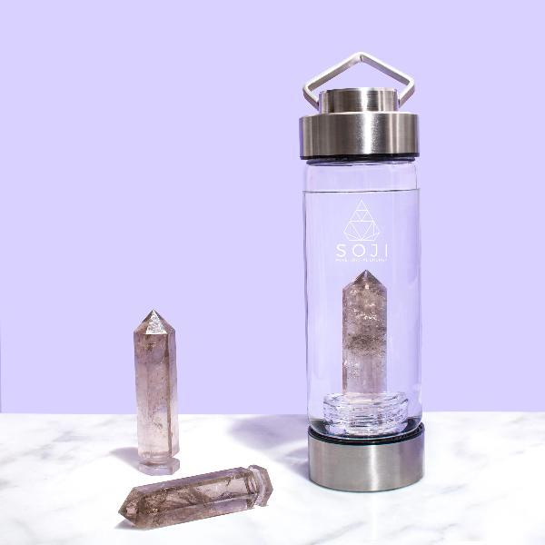 Smoky Quartz Crystal Elixir Water Bottle Water Bottle Soji Energy