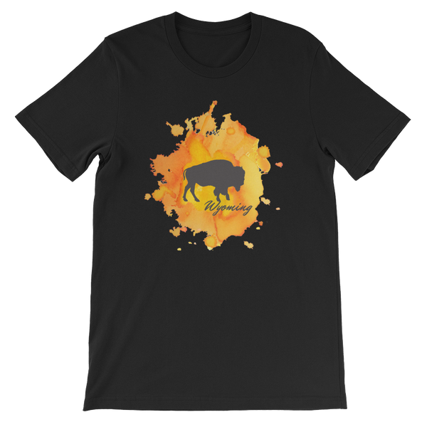Wyoming Watercolor Burst Bison - Men's/Unisex Short Sleeve