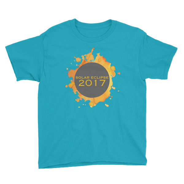 2017 Solar Eclipse Watercolor Burst - Kid's/Youth Short Sleeve