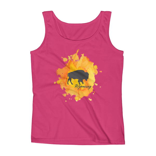 Wyoming Watercolor Burst Bison - Women's Tank