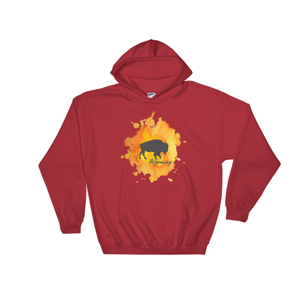 Wyoming Watercolor Burst Bison Hoodie - Unisex