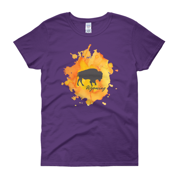 Wyoming Watercolor Burst Bison - Women's Short Sleeve