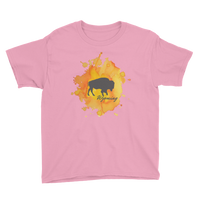 Wyoming Watercolor Burst Bison - Kid's/Youth Short Sleeve