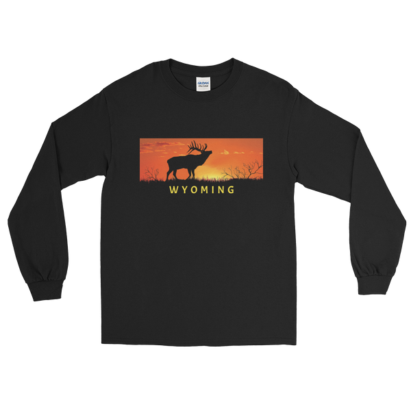 Wyoming Elk Sunset - Men's/Unisex Long Sleeve
