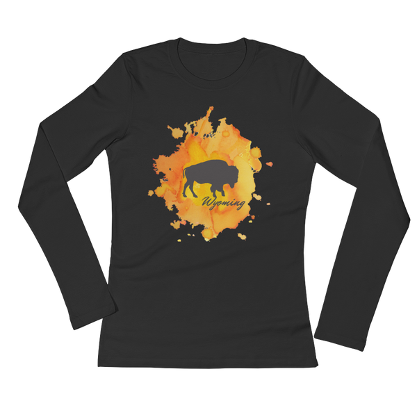 Wyoming Watercolor Burst Bison - Women's Long Sleeve