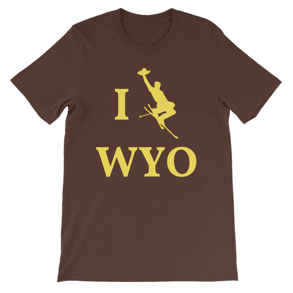 I Ski WYO - Men's/Unisex Short Sleeve - Brown & Yellow