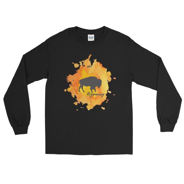 Wyoming Watercolor Burst Bison - Men's/Unisex Long Sleeve