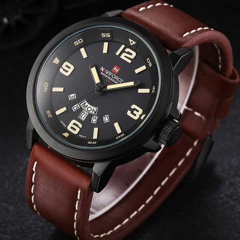NAVIFORCE Men's Sport Military Leather Watch