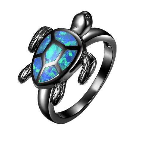 Blue Glow Opal Turtle Ring