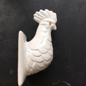 Vintage Ceramic Rooster Wall Hook - White Farmhouse Style Kitchen Decor