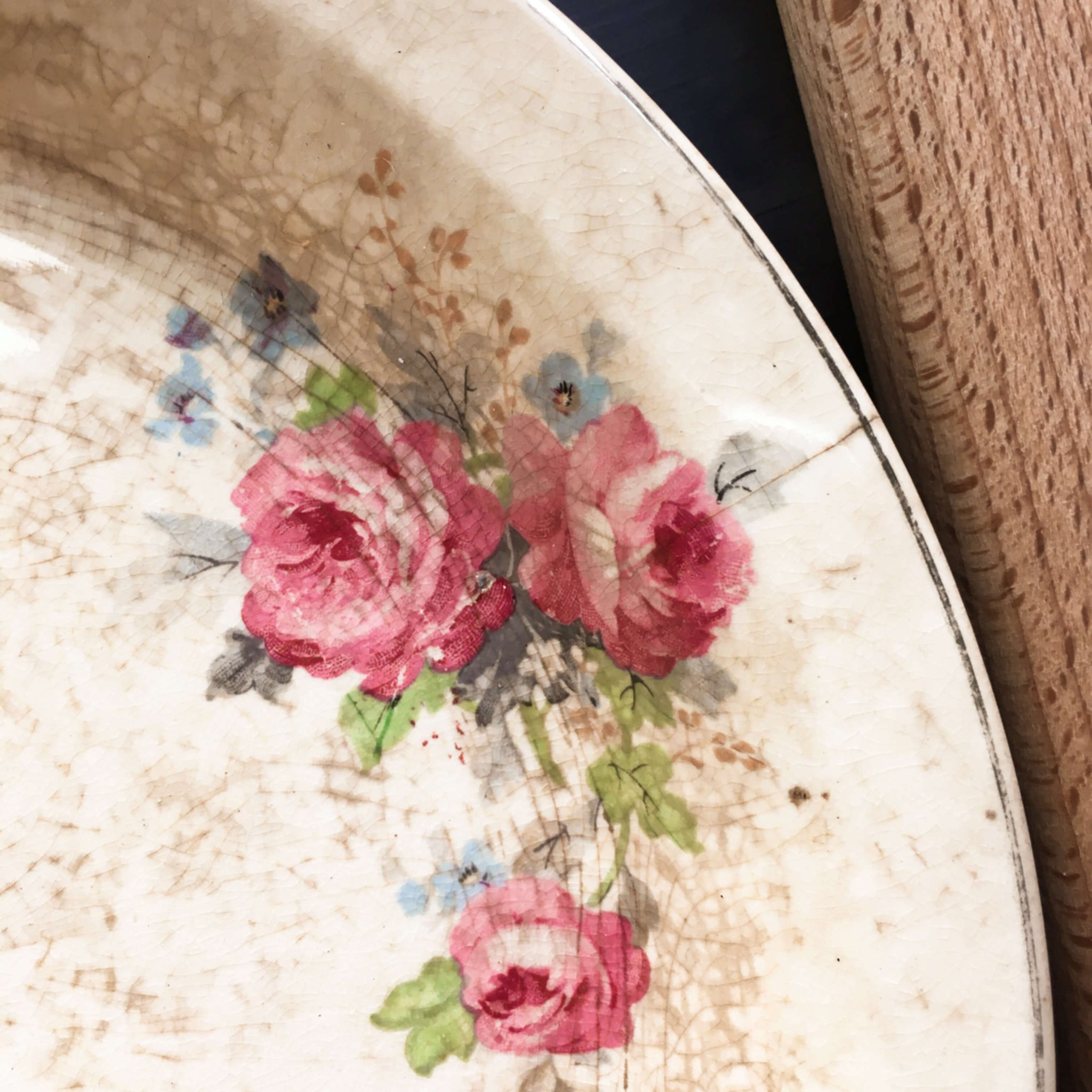 Vintage 1930s Ceramic Pie Dish - Pink Floral - Weathered, Aged and Well Loved