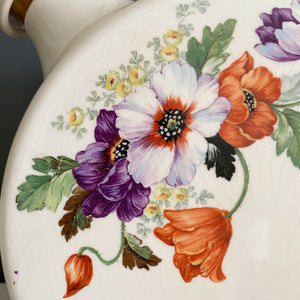 Vintage Ceramic Refrigerator Water Jug Canteen Pitcher  - Purple & Orange Flowers- Circa 1930s