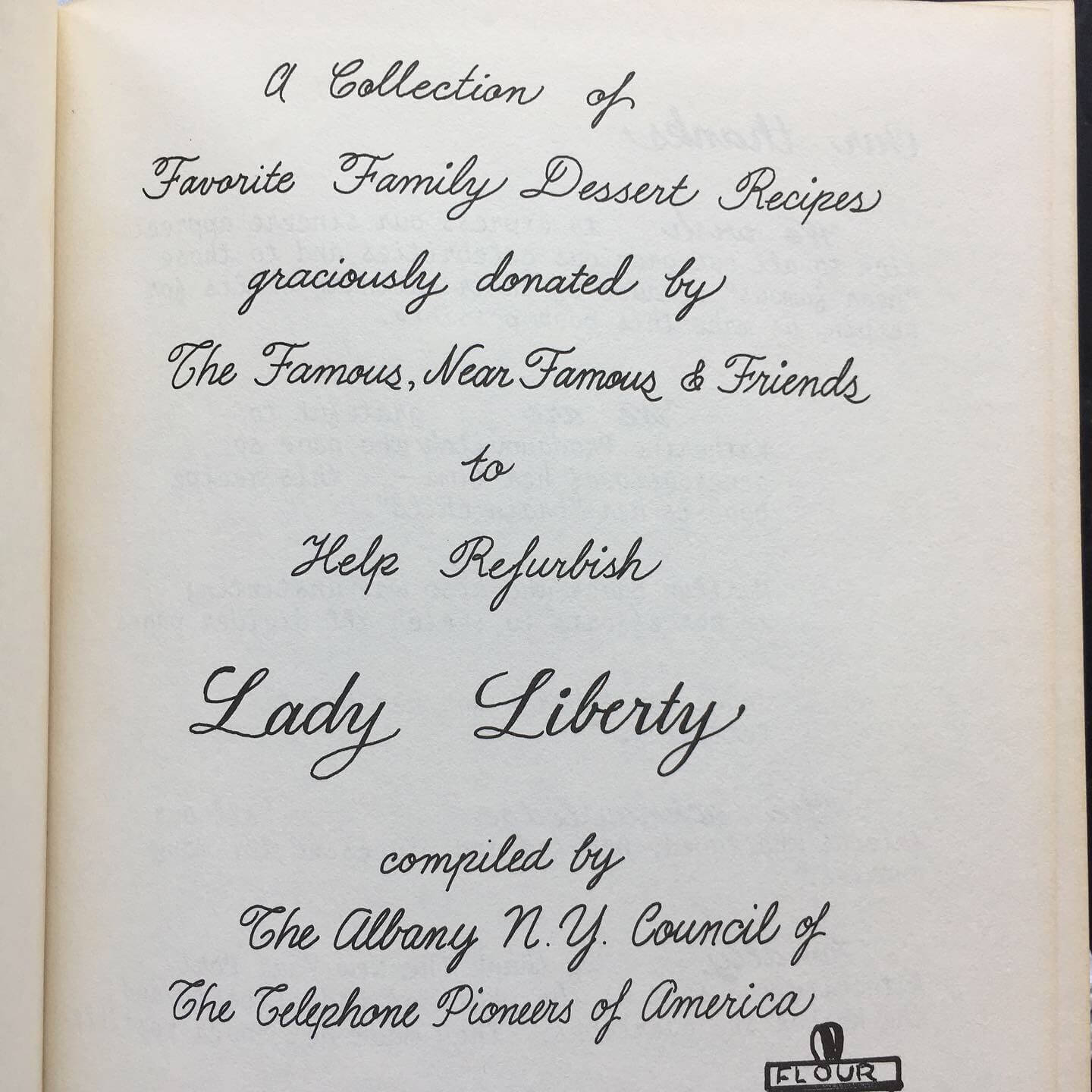 Lady Liberty's Celebrity Desserts - The Telephone Pioneers of America 1886-1986