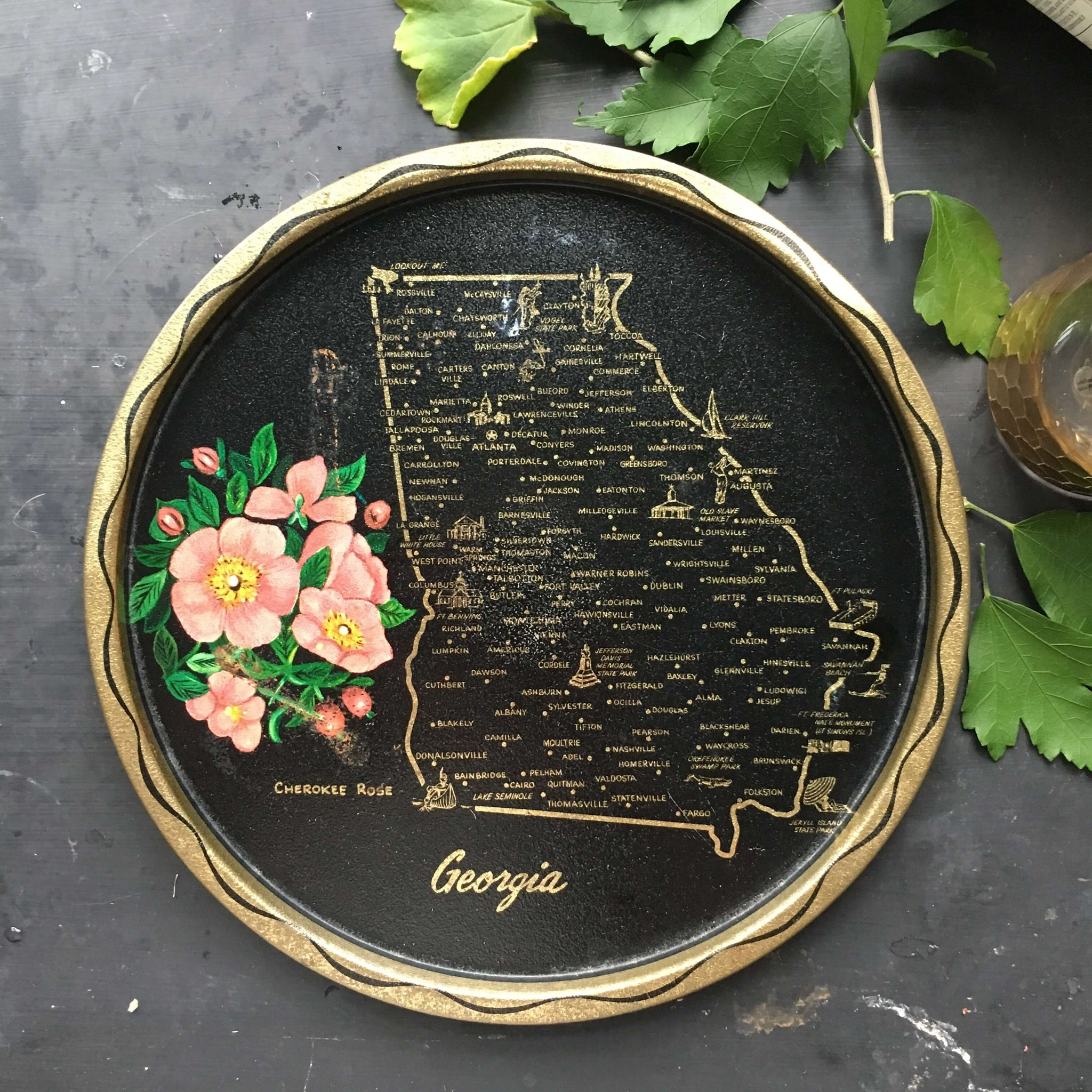 Vintage 1960's  Tin Tray - State of Georgia Travel Souvenir - Black and Gold Travel Collectibles