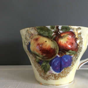Vintage 1940's Royal Halsey Porcelain Teacups - Apple and Plum Fruits - Set of Two Yellow Gold