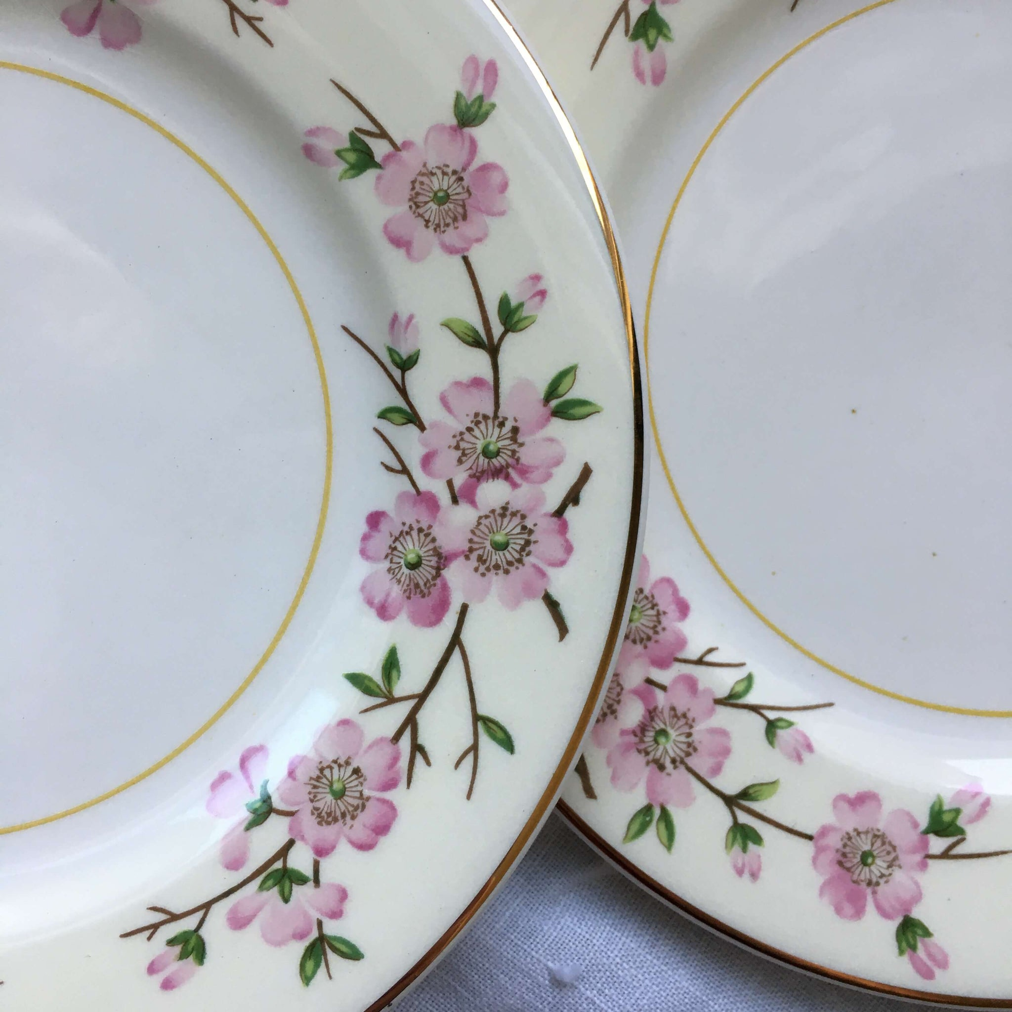 Vintage 1940s Harmony House Maytime Bread and Butter Plates - Set of 3 - Cherry Blossom Branches