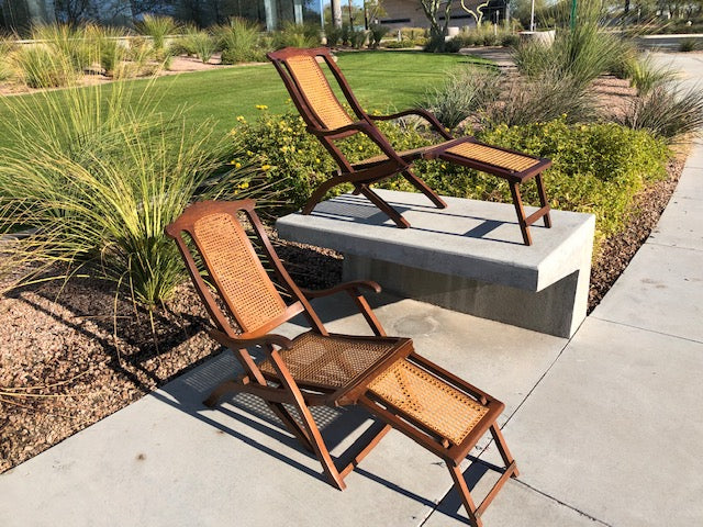 Rare Antique Steamer Chairs - Pair of Two circa late 1800s - Victorian Folding Deck Chairs