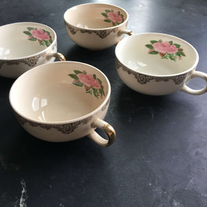 Vintage Gold Filigree Tea Cups with Interior Pink Roses - Set of Four