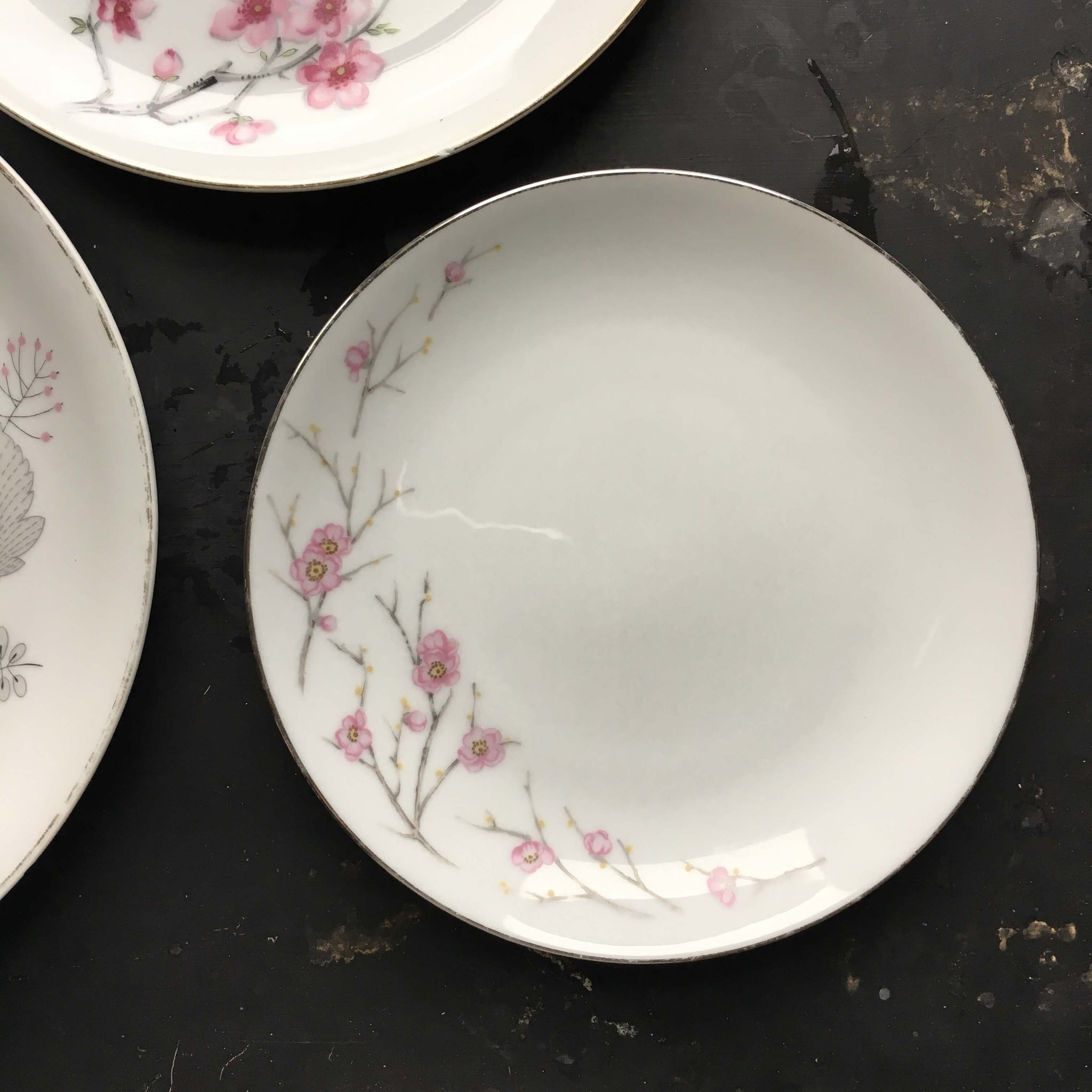 The Cherry Blossom Collection - Vintage Mix and Match Grey and Pink Floral Plates - Set of Three