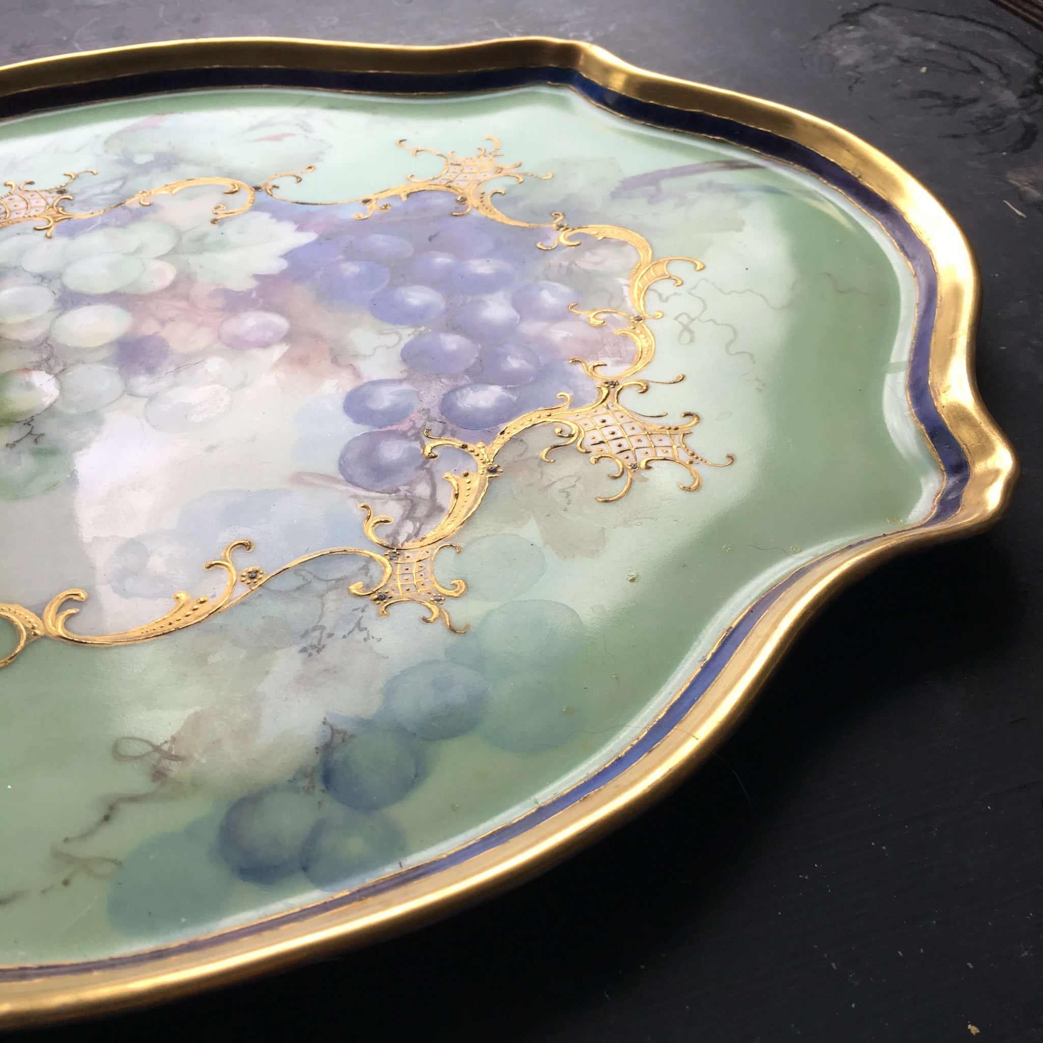 Antique Handpainted Porcelain Limoges Serving Tray circa 1900 - Signed by the Artist - Jean Pouyet Limoges