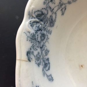 Rare Antique Ironstone Bowl with Blue Transferware - Baker & Co Ld England Paris New Orleans Delia Pattern