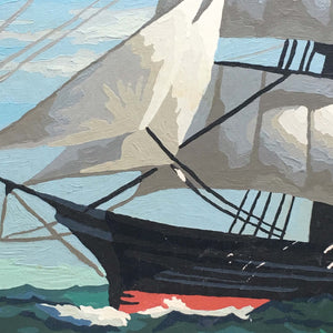 Vintage Paint by Number Clipper Ship - 16x20 - Circa 1950's Sailboat Art