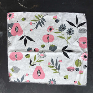 Set of Four Vintage Midcentury Cotton Napkins - Pink Pears, Grey Strawberries and Black Florals