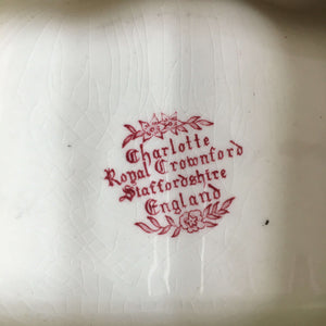 Vintage Charlotte Royal Crownford Soap Dish Wall Holder - Staffordshire England - Red Floral Transferware