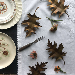 Vintage Metal Oak Leaves - Set of 4 Tapletop or Wall Mounted Autumn Decor {Reserved for Erin}