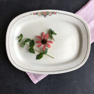 1930's Crooksville China Company Platter - Pink Roses, Black Stripes, Yellow Banner - 11""